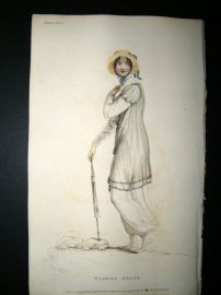 Ackermann 1810 Hand Col Regency Fashion Print. Walking Dress 4-11